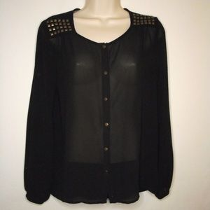 F21| Sheer Studded Blouse | Small